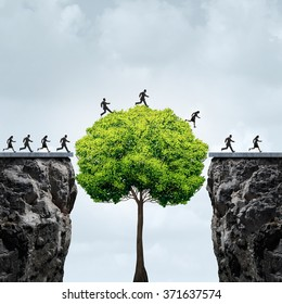 Business growth opportunity concept as a group of business people taking advantage of a tall tree grown to create a bridge to cross over and link two separate cliffs for patience and opportunism.