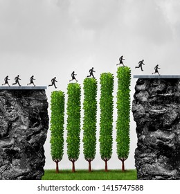 Business growth opportunity and financial success or timing the market concept as employees running to reach a goal with 3D illustration elements.
