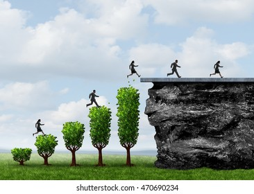 Business growth people success and growing opportunity to reach a goal as businesspeople climbing and running upward on trees shaped as a financial profit chart with 3D illustration elements.