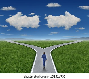 Business guidance questions and career path as a person walking to a crossroad highway with two clouds shaped as arrows pointing in opposite directions on a blue sky  as a financial advice guide.