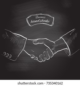 Business handshake. Gesture, sign of contract agreement. Businessman two hands shaking each other. Chalk drawing on the blackboard, isolated illustration.