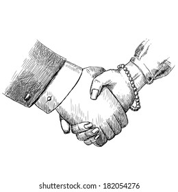 Business handshake man and woman successful teamwork greeting friendship concept isolated  illustration