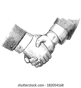 Business handshake successful partnership agreement deal concept isolated  illustration
