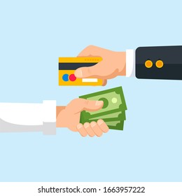 Business holding credit card office man holding money exchange concept - Image