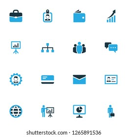 Business icons colored set with envelope, billfold, access and other whiteboard elements. Isolated  illustration business icons.