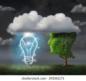 Business idea concept as a tree shaped as a face under a cloud with an electric lightning bolt in the shape of an illuminated lightbulb as a metaphor for creative inspiration and success.