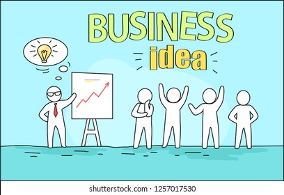 Business idea image representing leader giving a plan and solution of problem at seminar and businessmen reaction to it  illustration