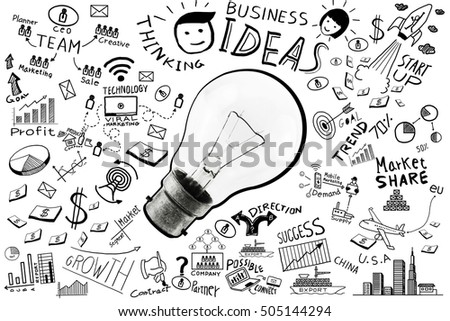 Business Ideas Freehand Drawing Light Bulb Business Stock