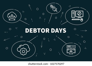 Business illustration showing the concept of debtor days