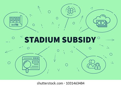 Business illustration showing the concept of stadium subsidy