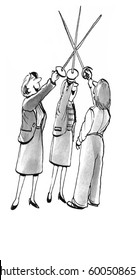 Business illustration showing three smiling women holding swords in the air.