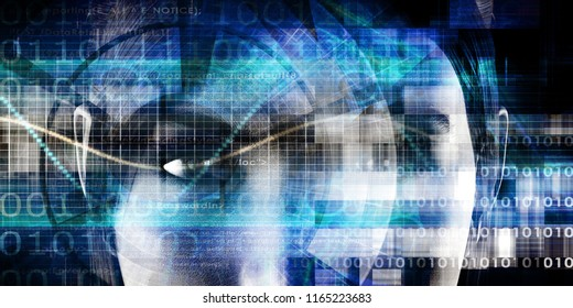 Business Intelligence with Data Abstract Technology Background