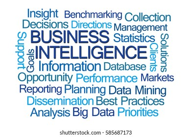 Business Intelligence Word Cloud on White Background
