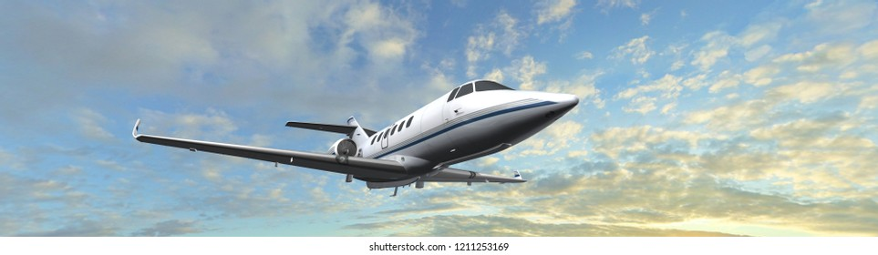 Business jet airplane flying on a high altitude above the clouds - Private Jet - 3d render