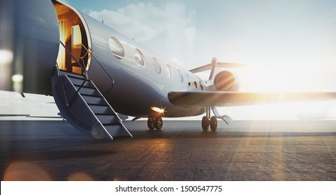 Business jet airplane parked at outside and waiting vip persons. Luxury tourism and business travel transportation concept. Flares. 3d rendering