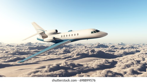 Business jet over the clouds Computer generated 3D illustration