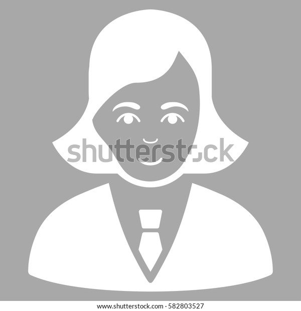 Business Lady glyph icon. Flat white symbol. Pictogram is isolated on a silver background. Designed for web and software interfaces.