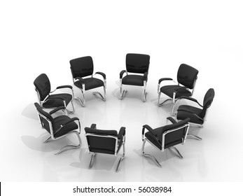 Business large meeting. Chairs arranging round small group isolated on white background