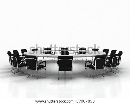 Business Large Meeting Conference Table Chairs Stock Illustration - Large white conference table