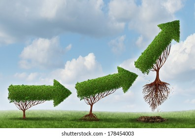 Business launch success symbol as a group of trees shaped as an arrow gradually maturing lifting off as a metaphor for soaring profits and the opportunity or potential of strong investment growth.