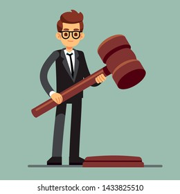 Business lawyer holding wooden judge gavel. Legal verdict, legislation authority concept. Illustration of legality jurisdiction, guilty and order juridical