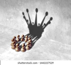Business leadership teamwork as a team leader success alliance as a group of pawn chess pieces coming together as a coalition as a 3D illustration.