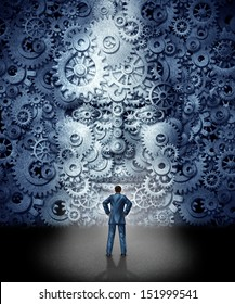 Business leadership training concept as a businessman facing a huge human head made from gears and cog wheels connected together as a symbol of industry skills education and a new career guidance.