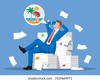 Business man character sleep in bunch of papers. Tired businessman or office worker sleeping on workplace. Stress at work. Bureaucracy, paperwork, deadline. illustration in flat style