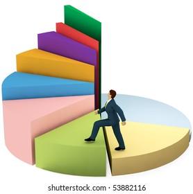 A business man climbs up a pie chart as spiral stairs of growth success.