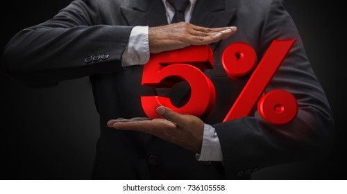 Business man compressing five letter percent (3d rendering) are mean discount price or fee. Use for any business work present web banner illustration.