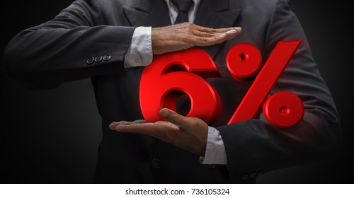 Business man compressing six letter percent (3d rendering) are mean discount price or fee. Use for any business work present web banner illustration.