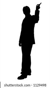 business man doing a presentation - silhouette