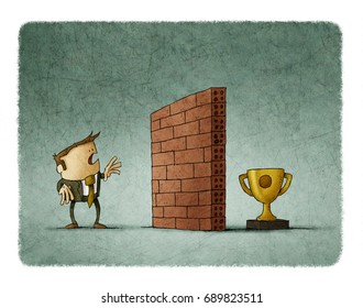 Business man in front of a brick wall has difficulty reaching his goal