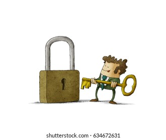 Business man in front of a huge padlock tries to insert a key. isolated, white background.