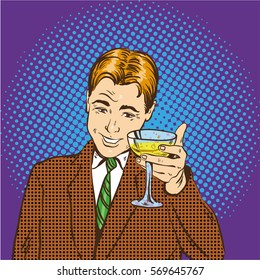 Business man with glass of champagne celebrates closed deal. Cheers and party concept illustration in retro pop art comic style.