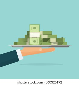 Business man hand holding tray with big pile of money symbol illustration, bank loan cash giving, credit packet, hypothec, mortgage, salary payment, modern design isolated, flat style emblem image