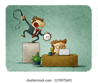 Business man holds a stopwatch and whip in hand, and a businessman works hard under him . Deadline time concept. Illustration