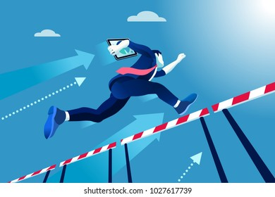 Business man jumping over obstacles a manager race concept. Overcome obstacles concept. Man jumping over obstacles like hurdle race. Business illustration.