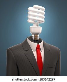 business man with the light bulb for a head