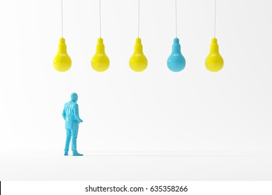 Business man looking light bulbs look different concept idea. business minimal idea. 3D Illustration.