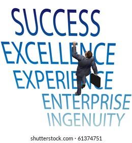 A business man makes progress toward SUCCESS climbing up words.