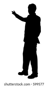 business man presenting silhouette in black and white