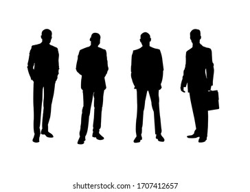 business man silhouette of four people easy to use
