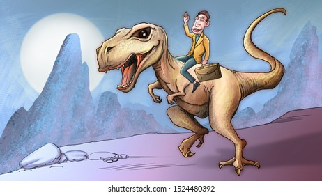 A business man sitting on the back of dinosaur.Comic book illustrations style.