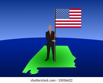 business man standing on map of Alabama with flag JPG
