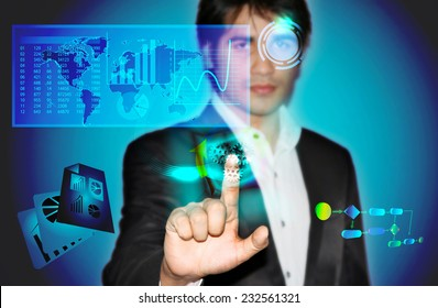 Business man touching virtual screen with business data and process