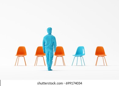 Business man walking to different color chair on white background. minimal concept. 3D render.