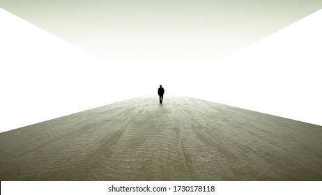 Business man walking towards a better future. Bright light at the end. White Background.