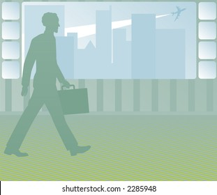 Business man walks past a large window - cityscape and airplane in the distance