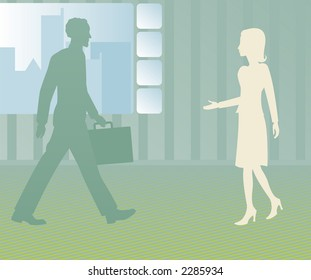 Business man walks towards a female client, employee or associate with her hand outstretched to greet him